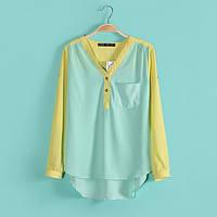 Весенняя яркая двухцветная блуза Л