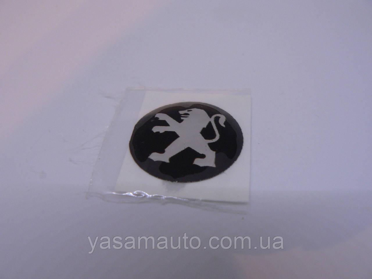 Наклейка s круглая PEUGEOT 20х20х1.2мм силиконовая эмблема логотип марка бренд в круге на авто Пежо