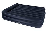Надувная кровать Queen Rising Comfort Intex 66702 (152х203х47 см.) + встроенный насос 220V HN