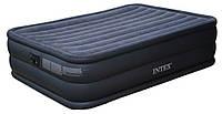 Синяя велюр кровать 66718 со встроенным электронасосом 220 В (203 х 152 х 56 см) в коробке