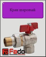 """Кран шаровый с американкой Fado NEW 3/4"""" НВ угловой (красный)"""