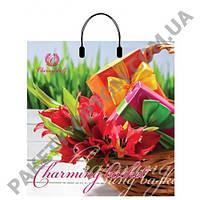 """Пакет с пластиковой ручкой """"Тюльпаны в корзине"""" (39х42,5) 10 шт"""