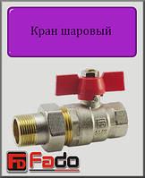 """Кран шаровый с американкой Fado Classic 1"""" НВ прямой (красный)"""