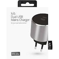 Сетевое ЗУ Kit Platinum Dual USB Charger (USB 3.4 Amp), Space Grey Интеллектуальная зарядка с автоопределение