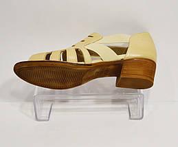 Бежевые кожаные босоножки Guero 012, фото 3