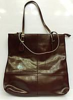 Большая кожаная сумка коричневого цвета