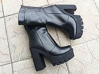 Женские натуральные ботинки на каблуке зима