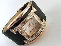 Часы женские HERMES копия Paris черные со стразами