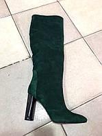 Женские замшевые демисезонные сапоги на каблуке