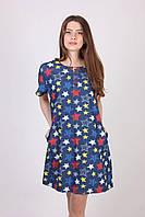 Красивое джинсовое платье-батал, увеличенных размеров, с принтом звездочки, фото 1