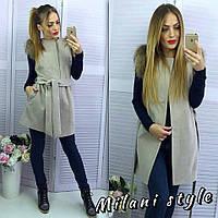 Женское пальто-жилетка с натуральным мехом из  кашемира