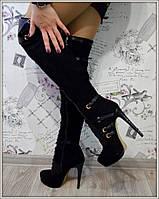 Женские ботфорды питон на шуровке демисезонные