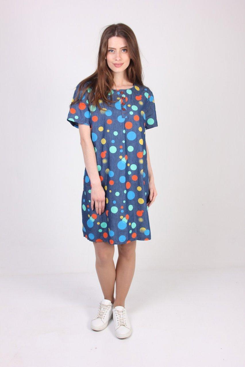 Молодежное платье-туника увеличенных размеров, с принтом кружочки