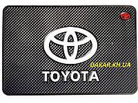 Антискользящий силиконовый коврик на торпедо с логотипом Toyota v2 Тойота