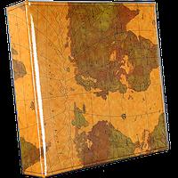 Большой семейный фотоальбом из эко кожи на 600 фото, карта мира