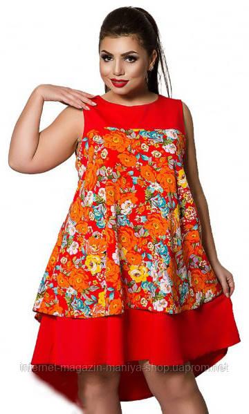 Платье женское  цветы 398 батал