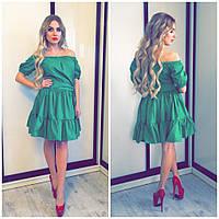 Оригинальное платье с пышной юбкой (расцветки) зеленый, ХС