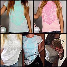 Женские футболки с цветочным принтом (белая, серая, голубая, минтоловая, розовая)