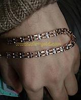 Золотой браслет якорь с шариком10755
