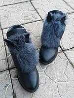 Женские зимние кожаные ботинки с мехом и ушками