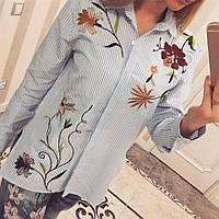 """Рубашка женская из коттона """"Полоска цветы"""""""