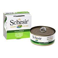 Schesir Chicken Fillet ШЕЗИР ФИЛЕ КУРИЦЫ натуральные консервы для собак, влажный корм куриное филе в желе, банка 150 г