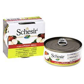 Schesir Chicken Аpple ШЕЗИР КУРИЦА С ЯБЛОКОМ  натуральные консервы для собак, влажный корм филе курицы с яблоком в желе, банка 150 г