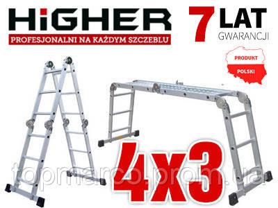Алюмінієва Шарнірна Драбина 4х3 HIGHER! 4,4 м!