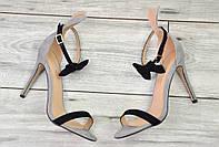 Женские босоножки на каблуке с бантиком