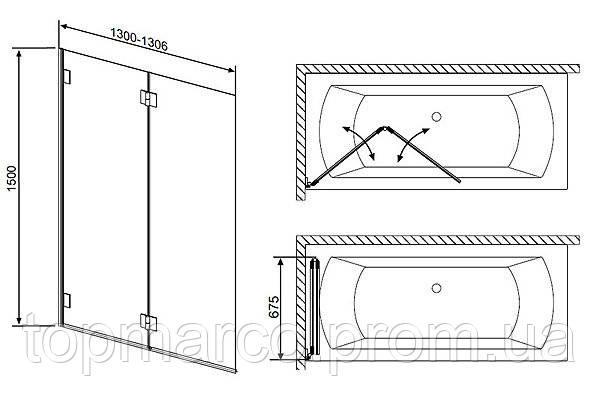 Шторка для ванны Radaway Carena PND 130 см 2