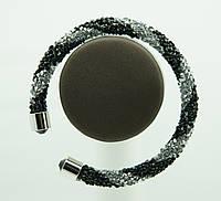 1128 Женский браслет жгут из стекляруса (черный с серебром).