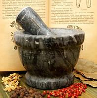 Ступка мраморная чёрная (14х14х8 см)