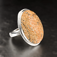 Яшма песочная, серебро 925, кольцо, 455КЯ, фото 1