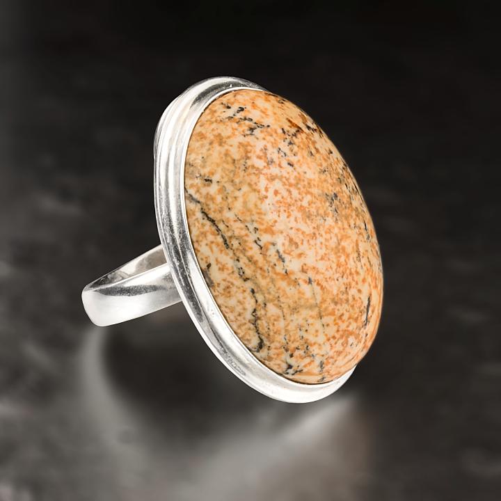 Яшма песочная, серебро 925, кольцо, 455КЯ