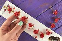 Свадебный красный гнущийся гребень ручной работы (Гр-О-13)