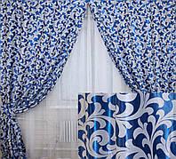 """Комплект готовых штор  блэкаут """"Вензель"""", двусторонний. Цвет синий 097ш (А), фото 1"""