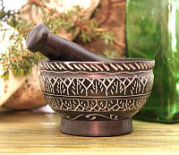 Ступка мраморная чёрная с узором (10х10х6,5 см)