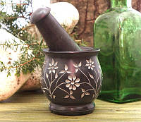 Ступка мраморная чёрная с узором (8х8х9 см)