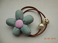 Резинка для волос цветочек хенд мейд hand made голубая