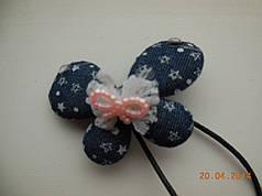 Резинка для волос бабочка хенд мейд hand made синяя
