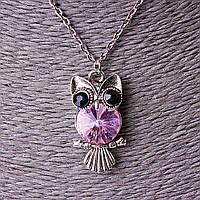 [30/15 мм] Кулон на цепочке Сова на веточке брюшко светлое страза стекло розовый