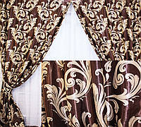 """Комплект готовых штор  блэкаут, """"Лилия"""". Цвет коричневый  101ш (А) 2 шторы шириной по 2м."""