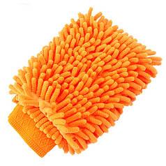 ϞРукавица Lesko 45-2A/008 Orange для уборки Ворсистая микрофибровая против пятен разводов