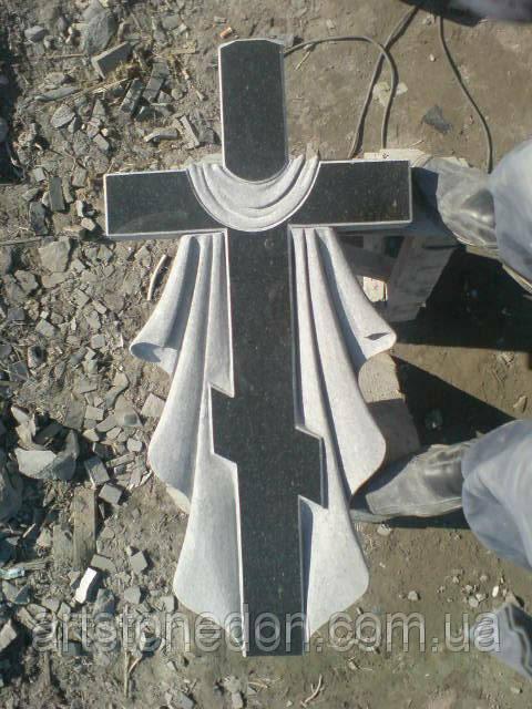 """Крест гранитный """"Крест с полотенцем"""""""