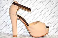 Босоножки женские стильные на каблуке комбинированные эко кожа