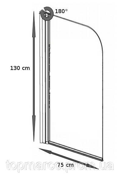 Шторка для ванны Besco PMD Ambition - 1 с полосками 75x130 4