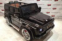 Детский электромобиль Джип Mercedes G 55 EBLRS-2 черный  автопокраска с кожаным сиденьем ***
