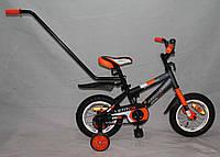 """Велосипед Azimut Stitch А 12"""" (с родительской ручкой) оранжевый ***"""