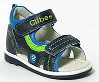 Детские польские кожаные ортопедические босоножки р.20-25 сине-зеленые на липучках для мальчиков