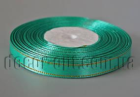 Лента атласная с зол.люрексом бирюзовая 1,0 см 36ярд 54
